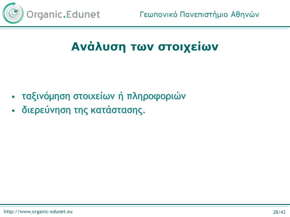 http://www.organic-edunet.eu 28/43 Ανάλυση των στοιχείων ταξινόμηση στοιχείων ή πληροφοριών ταξινόμηση στοιχείων ή πληροφοριών διερεύνηση της κατάστασης.