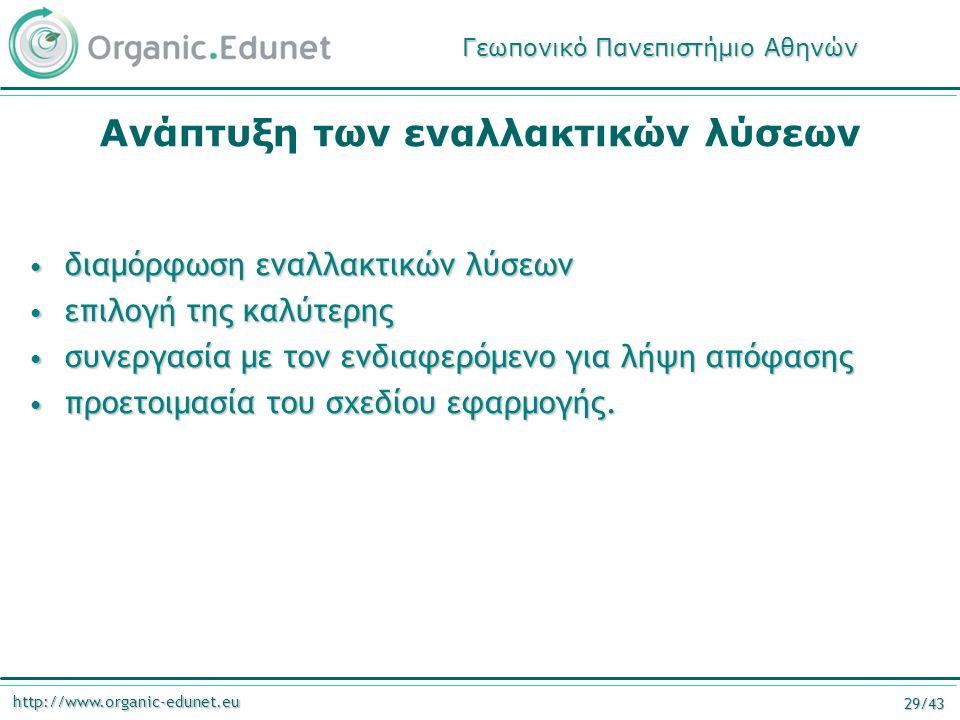http://www.organic-edunet.eu 29/43 Ανάπτυξη των εναλλακτικών λύσεων διαμόρφωση εναλλακτικών λύσεων διαμόρφωση εναλλακτικών λύσεων επιλογή της καλύτερης επιλογή της καλύτερης συνεργασία με τον ενδιαφερόμενο για λήψη απόφασης συνεργασία με τον ενδιαφερόμενο για λήψη απόφασης προετοιμασία του σχεδίου εφαρμογής.