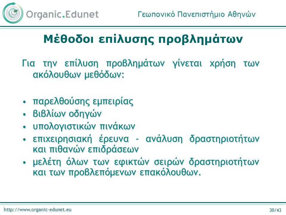 http://www.organic-edunet.eu 30/43 Μέθοδοι επίλυσης προβλημάτων Για την επίλυση προβλημάτων γίνεται χρήση των ακόλουθων μεθόδων: παρελθούσης εμπειρίας παρελθούσης εμπειρίας βιβλίων οδηγών βιβλίων οδηγών υπολογιστικών πινάκων υπολογιστικών πινάκων επιχειρησιακή έρευνα - ανάλυση δραστηριοτήτων και πιθανών επιδράσεων επιχειρησιακή έρευνα - ανάλυση δραστηριοτήτων και πιθανών επιδράσεων μελέτη όλων των εφικτών σειρών δραστηριοτήτων και των προβλεπόμενων επακόλουθων.