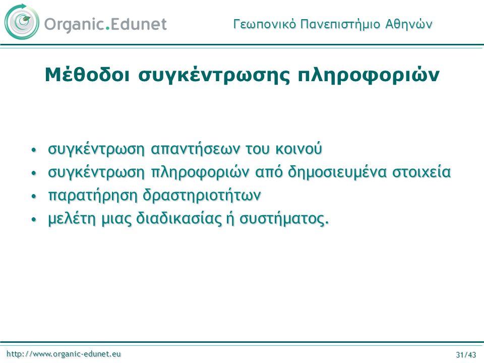 http://www.organic-edunet.eu 31/43 Μέθοδοι συγκέντρωσης πληροφοριών συγκέντρωση απαντήσεων του κοινού συγκέντρωση απαντήσεων του κοινού συγκέντρωση πληροφοριών από δημοσιευμένα στοιχεία συγκέντρωση πληροφοριών από δημοσιευμένα στοιχεία παρατήρηση δραστηριοτήτων παρατήρηση δραστηριοτήτων μελέτη μιας διαδικασίας ή συστήματος.