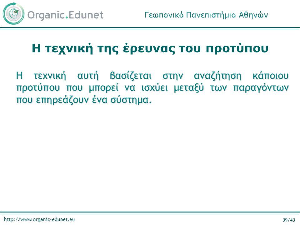 http://www.organic-edunet.eu 39/43 Η τεχνική της έρευνας του προτύπου Η τεχνική αυτή βασίζεται στην αναζήτηση κάποιου προτύπου που μπορεί να ισχύει μεταξύ των παραγόντων που επηρεάζουν ένα σύστημα.