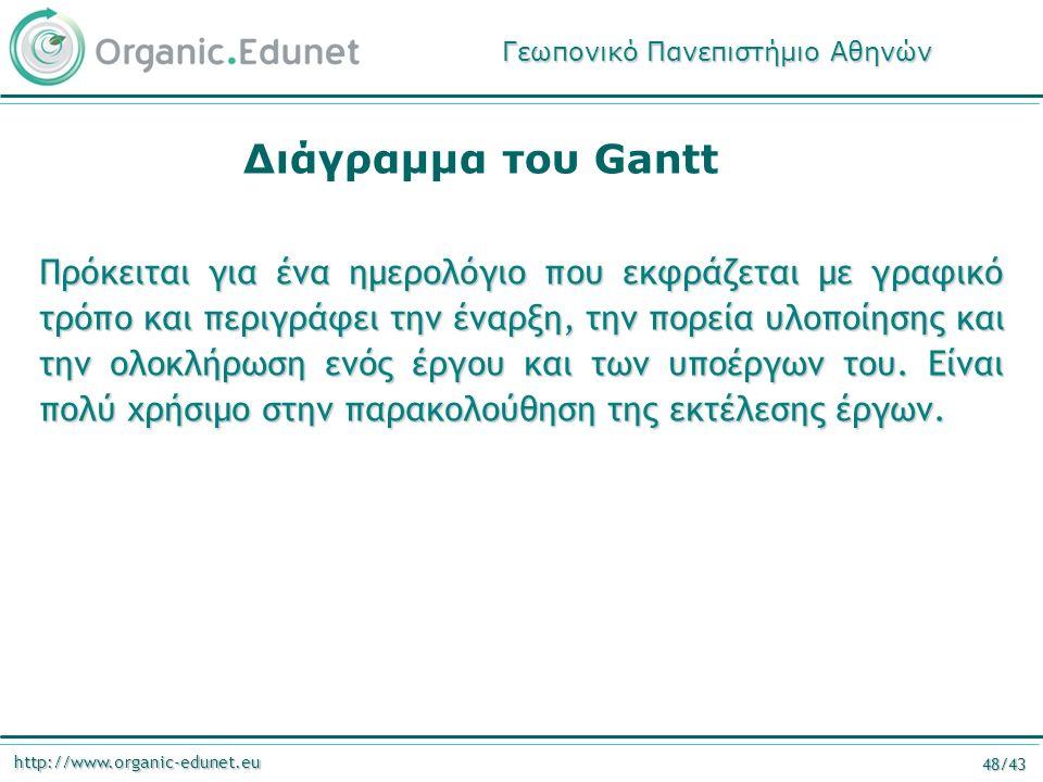 http://www.organic-edunet.eu 48/43 Διάγραμμα του Gantt Πρόκειται για ένα ημερολόγιο που εκφράζεται με γραφικό τρόπο και περιγράφει την έναρξη, την πορεία υλοποίησης και την ολοκλήρωση ενός έργου και των υποέργων του.