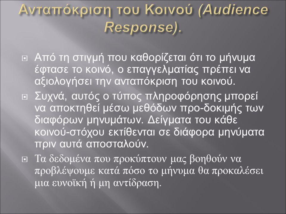  Από τη στιγμή που καθορίζεται ότι το μήνυμα έφτασε το κοινό, ο επαγγελματίας πρέπει να αξιολογήσει την ανταπόκριση του κοινού.