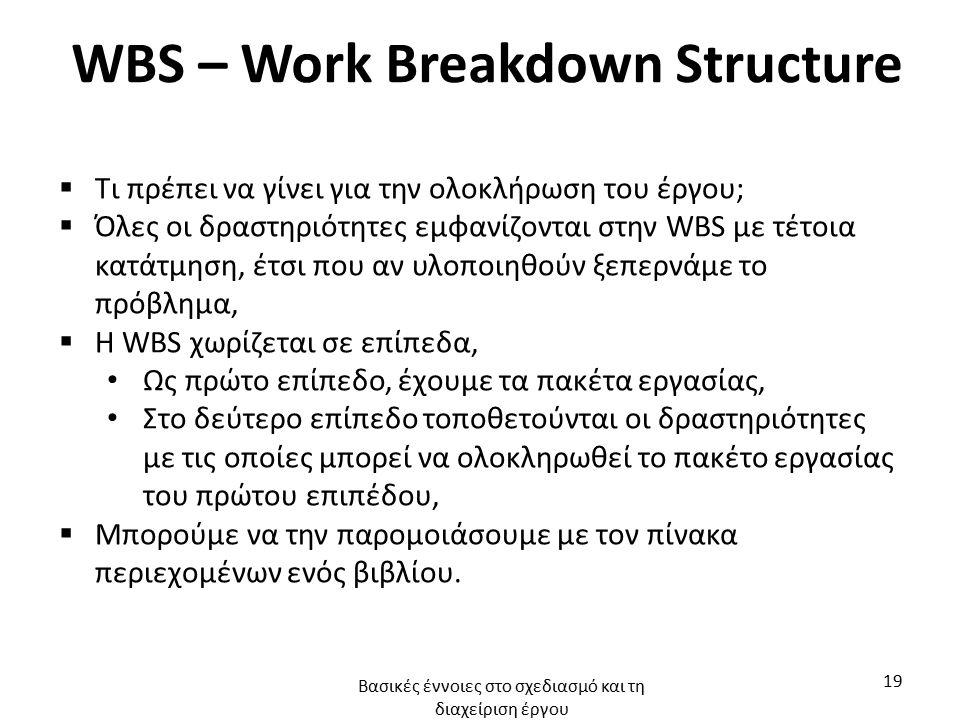 WBS – Work Breakdown Structure  Τι πρέπει να γίνει για την ολοκλήρωση του έργου;  Όλες οι δραστηριότητες εμφανίζονται στην WBS με τέτοια κατάτμηση, έτσι που αν υλοποιηθούν ξεπερνάμε το πρόβλημα,  Η WBS χωρίζεται σε επίπεδα, Ως πρώτο επίπεδο, έχουμε τα πακέτα εργασίας, Στο δεύτερο επίπεδο τοποθετούνται οι δραστηριότητες με τις οποίες μπορεί να ολοκληρωθεί το πακέτο εργασίας του πρώτου επιπέδου,  Μπορούμε να την παρομοιάσουμε με τον πίνακα περιεχομένων ενός βιβλίου.