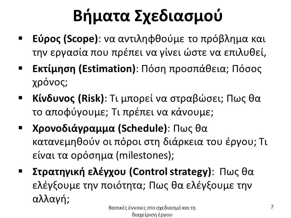 Βήματα Σχεδιασμού  Εύρος (Scope): να αντιληφθούμε το πρόβλημα και την εργασία που πρέπει να γίνει ώστε να επιλυθεί,  Εκτίμηση (Estimation): Πόση προσπάθεια; Πόσος χρόνος;  Κίνδυνος (Risk): Τι μπορεί να στραβώσει; Πως θα το αποφύγουμε; Τι πρέπει να κάνουμε;  Χρονοδιάγραμμα (Schedule): Πως θα κατανεμηθούν οι πόροι στη διάρκεια του έργου; Τι είναι τα ορόσημα (milestones);  Στρατηγική ελέγχου (Control strategy): Πως θα ελέγξουμε την ποιότητα; Πως θα ελέγξουμε την αλλαγή; Βασικές έννοιες στο σχεδιασμό και τη διαχείριση έργου 7
