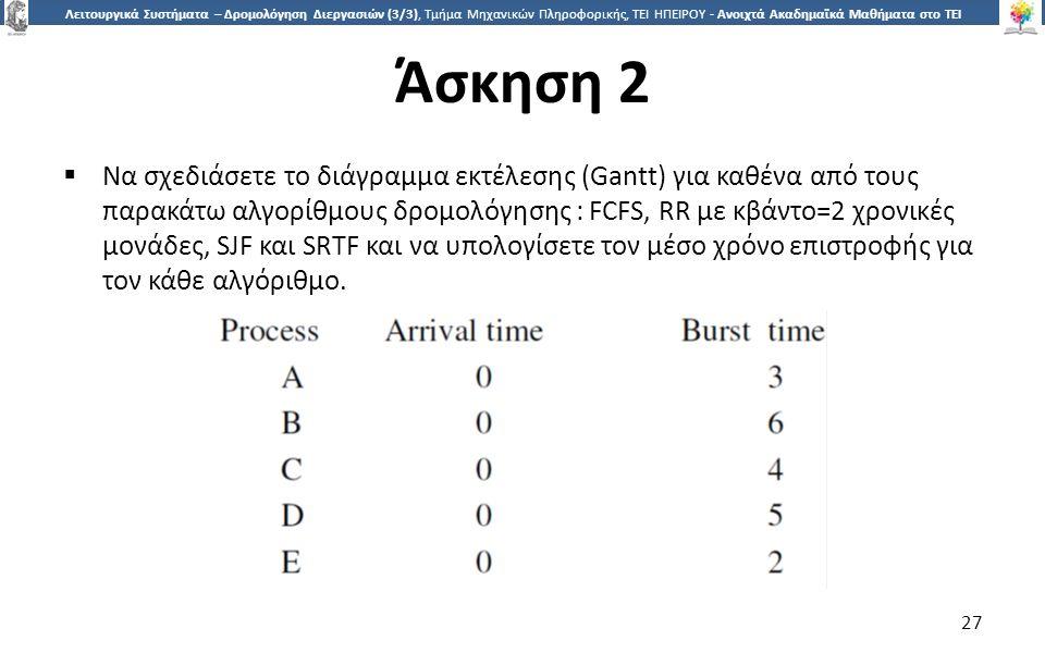 2727 Λειτουργικά Συστήματα – Δρομολόγηση Διεργασιών (3/3), Τμήμα Μηχανικών Πληροφορικής, ΤΕΙ ΗΠΕΙΡΟΥ - Ανοιχτά Ακαδημαϊκά Μαθήματα στο ΤΕΙ Ηπείρου Άσκηση 2 27  Να σχεδιάσετε το διάγραμμα εκτέλεσης (Gantt) για καθένα από τους παρακάτω αλγορίθμους δρομολόγησης : FCFS, RR με κβάντο=2 χρονικές μονάδες, SJF και SRTF και να υπολογίσετε τον μέσο χρόνο επιστροφής για τον κάθε αλγόριθμο.