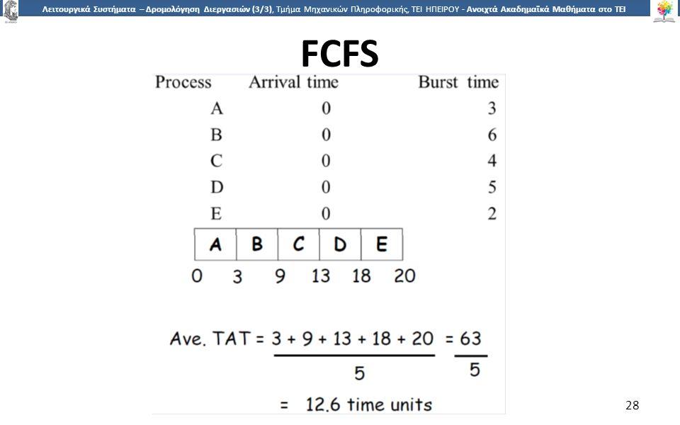 2828 Λειτουργικά Συστήματα – Δρομολόγηση Διεργασιών (3/3), Τμήμα Μηχανικών Πληροφορικής, ΤΕΙ ΗΠΕΙΡΟΥ - Ανοιχτά Ακαδημαϊκά Μαθήματα στο ΤΕΙ Ηπείρου FCFS 28
