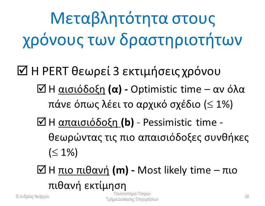 Μεταβλητότητα στους χρόνους των δραστηριοτήτων  Η PERT θεωρεί 3 εκτιμήσεις χρόνου  Η αισιόδοξη (α) - Optimistic time – αν όλα πάνε όπως λέει το αρχι