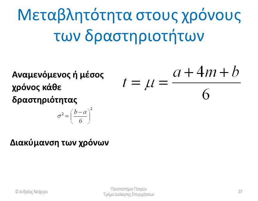 PERT: Μεταβλητότητα στους χρόνους των δραστηριοτήτων Οι εκτιμήσεις ακολουθούν την κατανομή βήτα © Ανδρέας Νεάρχου Πανεπιστήμιο Πατρών Τμήμα Διοίκησης Επιχειρήσεων 38 t = (a + 4m + b)/6 v = [(b − a)/6]2 Πιθανότητα 1% για εμφάνιση χρόνου > b Πιθανότητα 1% για εμφάνιση χρόνου < α Πιθανότητα αm b διάρκεια δραστηριότητας.