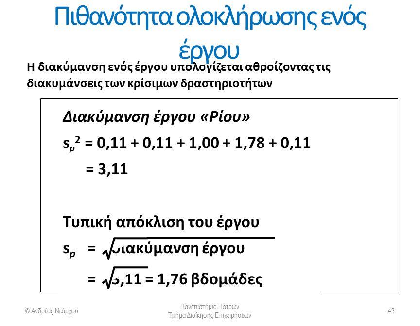 Πιθανότητα ολοκλήρωσης ενός έργου © Ανδρέας Νεάρχου Πανεπιστήμιο Πατρών Τμήμα Διοίκησης Επιχειρήσεων 44 Η PERT κάνει 2 επιπλέον υποθέσεις: 1.Ο συνολικός χρόνος ολοκλήρωσης ενός έργου είναι μια τυχαία μεταβλητή που ακολουθεί μια κανονική κατανομή πιθανότητας με μέση τιμή (μ) και τυπική απόκλιση (σ).