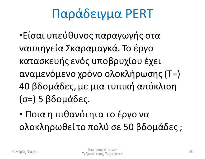 Παράδειγμα PERT Είσαι υπεύθυνος παραγωγής στα ναυπηγεία Σκαραμαγκά. Το έργο κατασκευής ενός υποβρυχίου έχει αναμενόμενο χρόνο ολοκλήρωσης (Τ=) 40 βδομ