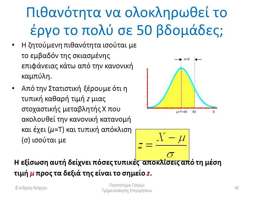 Μετατροπή σε τυπικές μεταβλητές © Ανδρέας Νεάρχου Πανεπιστήμιο Πατρών Τμήμα Διοίκησης Επιχειρήσεων 47 T = 40 σ = 5 50X Κανονική Κατανομή m z = 0 σ Z = 1 z 2,0 Τυποποίηση Κανονικής Κατανομής z X Τ =  =  = σ 5040 5 20, Αρ.