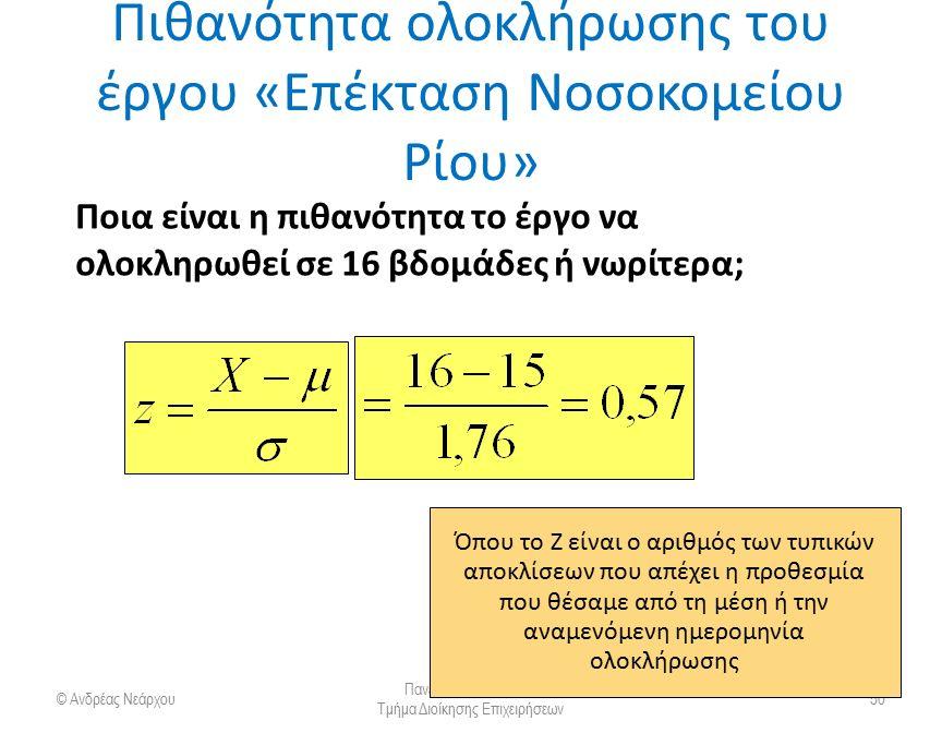 Πιθανότητα ολοκλήρωσης ενός έργου © Ανδρέας Νεάρχου Πανεπιστήμιο Πατρών Τμήμα Διοίκησης Επιχειρήσεων 51 Z=−/  p = (16 wks − 15 wks)/1.76 = 0,57 dueexpected date dateof completion Όπου το Z είναι ο αριθμός των τυπικών αποκλίσεων που απέχει η προθεσμία που θέσαμε από τη μέση ή την αναμενόμενη ημερομηνία ολοκλήρωσης,00,01,07,08,1,50000,50399,52790,53188,2,53983,54380,56749,57142,5,69146,69497,71566,71904,6,72575,72907,74857,75175 Στατιστικοί πίνακες κανονικής κατανομής.