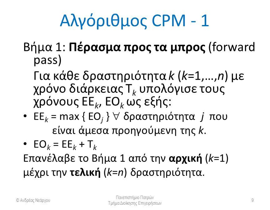 Αλγόριθμος CPM - 2 Βήμα 2: Πέρασμα προς τα πίσω (backward pass) Για κάθε δραστηριότητα k (k=n,…,1) με χρόνο διάρκειας T k υπολόγισε τους χρόνους ΒΟ k, ΒΕ k ως εξής: ΒΟ k = min { BE j }  δραστηριότητα j που είναι άμεσα επόμενη της k.
