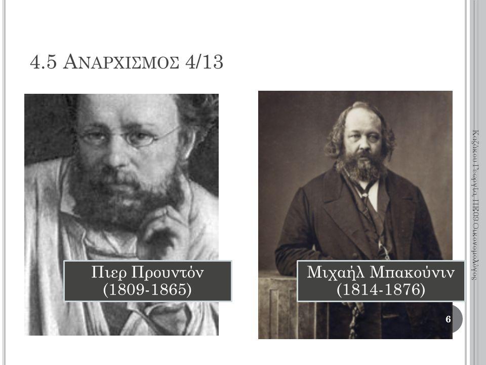 Πιερ Προυντόν (1809-1865) Μιχαήλ Μπακούνιν (1814-1876) 6 Καζάκου Γεωργία, ΠΕ09 Οικονομολόγος 4.5 Α ΝΑΡΧΙΣΜΟΣ 4/13