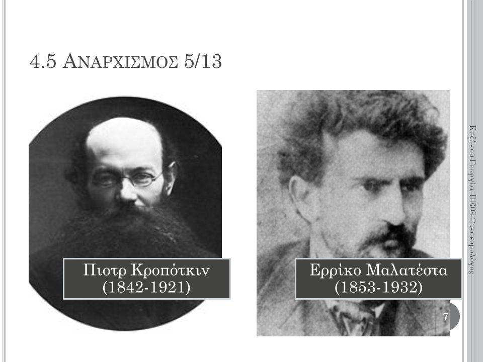 Πιοτρ Κροπότκιν (1842-1921) Ερρίκο Μαλατέστα (1853-1932) 7 Καζάκου Γεωργία, ΠΕ09 Οικονομολόγος 4.5 Α ΝΑΡΧΙΣΜΟΣ 5/13