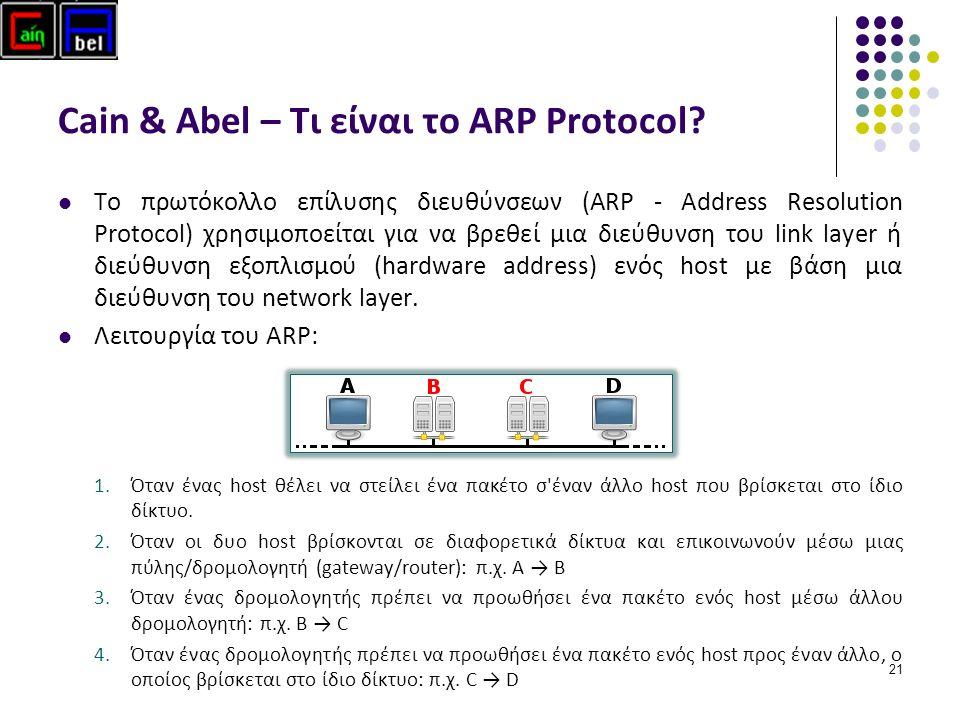 21 Cain & Abel – Τι είναι το ARP Protocol.
