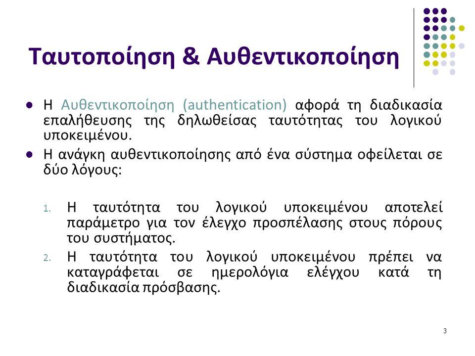 3 Η Αυθεντικοποίηση (authentication) αφορά τη διαδικασία επαλήθευσης της δηλωθείσας ταυτότητας του λογικού υποκειμένου.