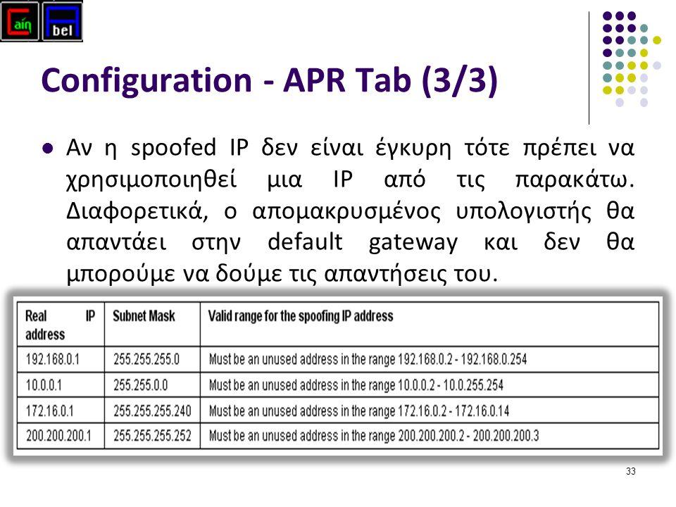 33 Configuration - APR Tab (3/3) Αν η spoofed IP δεν είναι έγκυρη τότε πρέπει να χρησιμοποιηθεί μια ΙP από τις παρακάτω.