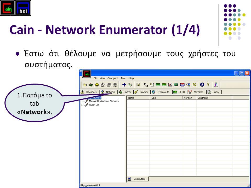 39 Cain - Network Enumerator (1/4) Έστω ότι θέλουμε να μετρήσουμε τους χρήστες του συστήματος.