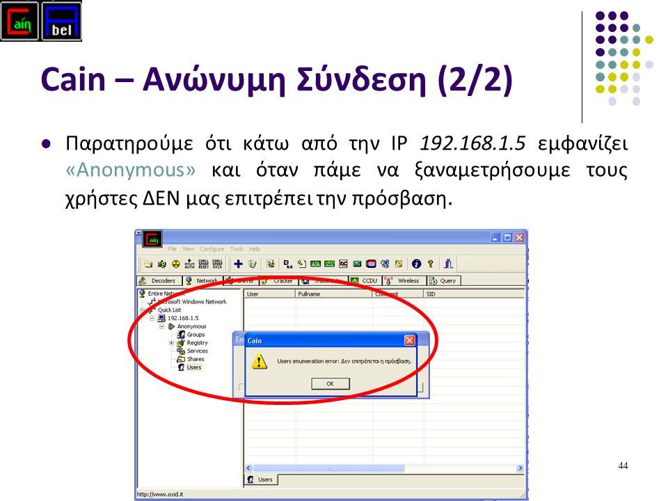 44 Cain – Ανώνυμη Σύνδεση (2/2) Παρατηρούμε ότι κάτω από την ΙP 192.168.1.5 εμφανίζει «Anonymous» και όταν πάμε να ξαναμετρήσουμε τους χρήστες ΔΕΝ μας επιτρέπει την πρόσβαση.