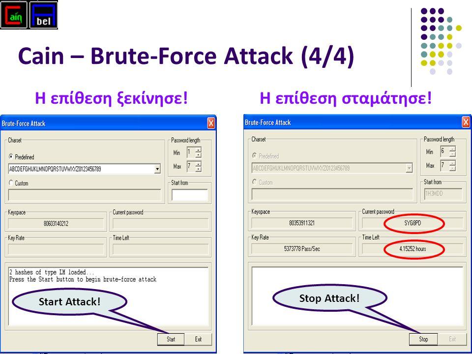 52 Cain – Brute-Force Attack (4/4) Η επίθεση ξεκίνησε.