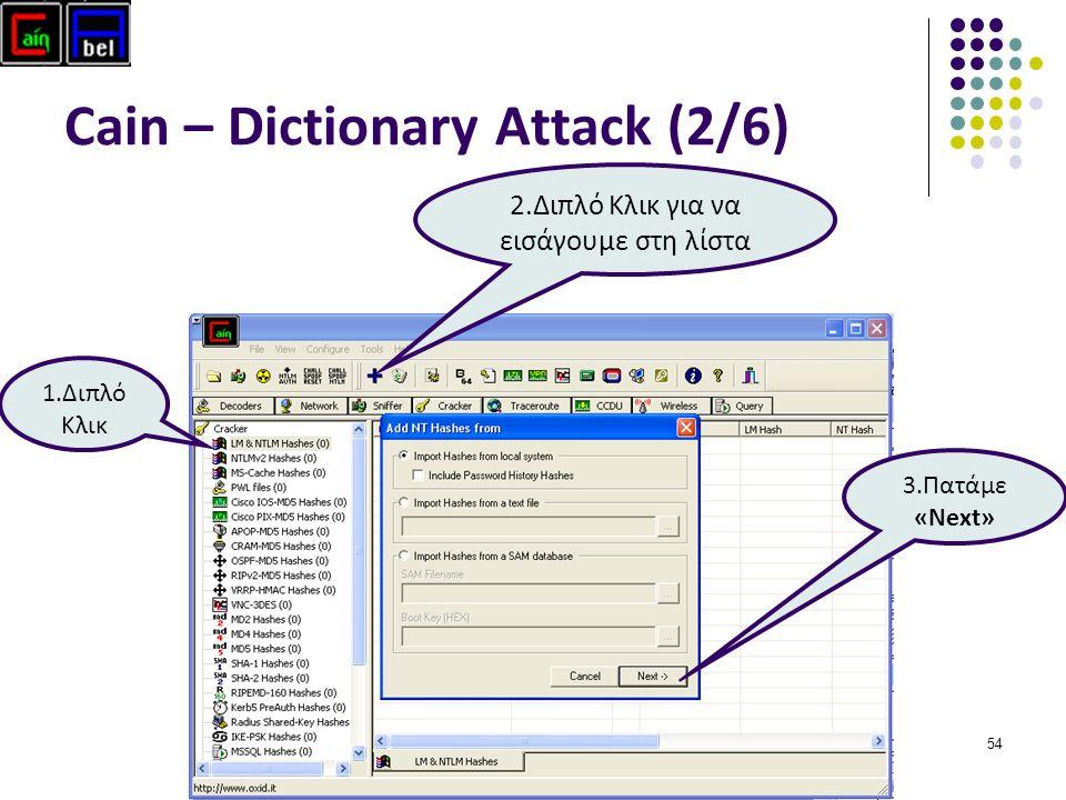 54 Cain – Dictionary Attack (2/6) 1.Διπλό Κλικ 2.Διπλό Κλικ για να εισάγουμε στη λίστα 3.Πατάμε «Next»