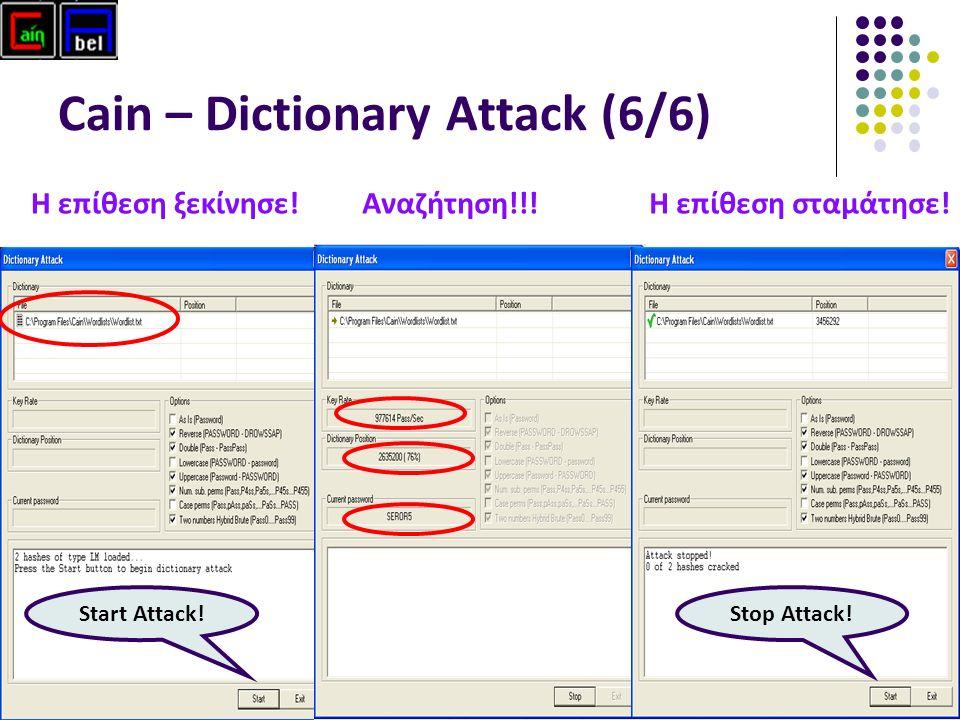 58 Cain – Dictionary Attack (6/6) Start Attack. Η επίθεση ξεκίνησε!Η επίθεση σταμάτησε.