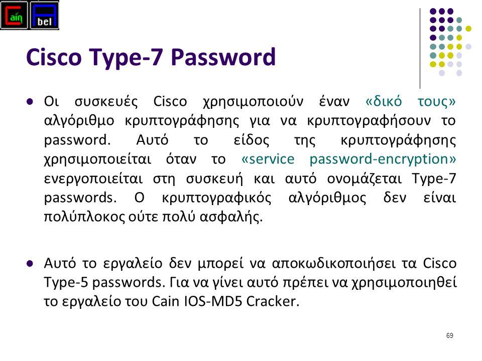 69 Cisco Type-7 Password Οι συσκευές Cisco χρησιμοποιούν έναν «δικό τους» αλγόριθμο κρυπτογράφησης για να κρυπτογραφήσουν το password.