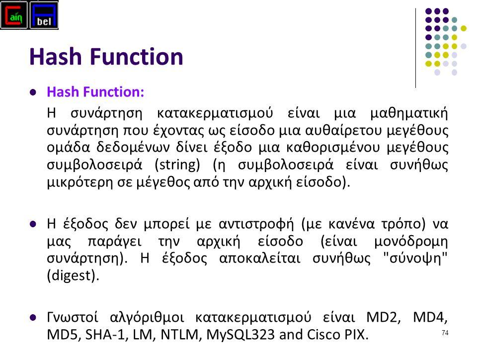 74 Hash Function Hash Function: H συνάρτηση κατακερματισμού είναι μια μαθηματική συνάρτηση που έχοντας ως είσοδο μια αυθαίρετου μεγέθους ομάδα δεδομένων δίνει έξοδο μια καθορισμένου μεγέθους συμβολοσειρά (string) (η συμβολοσειρά είναι συνήθως μικρότερη σε μέγεθος από την αρχική είσοδο).