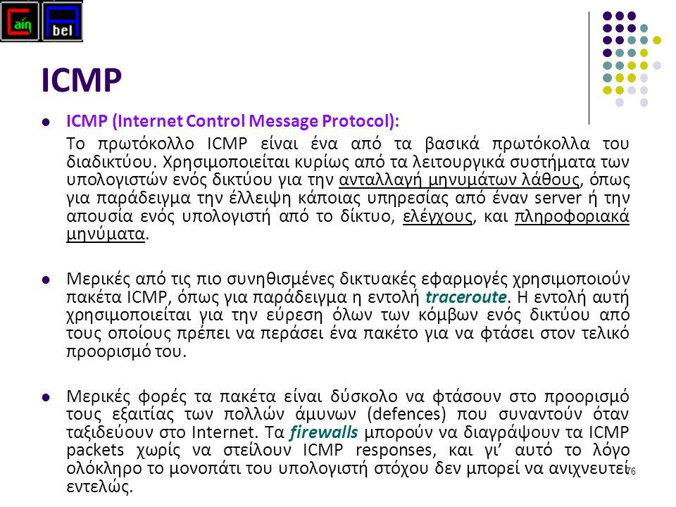 76 ICMP ICMP (Internet Control Message Protocol): Το πρωτόκολλο ICMP είναι ένα από τα βασικά πρωτόκολλα του διαδικτύου.