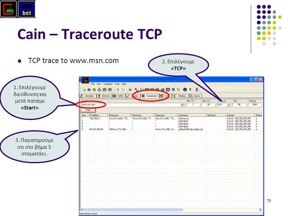 79 Cain – Traceroute TCP ΤCP trace to www.msn.com 1. Επιλέγουμε διεύθυνση και μετά πατάμε «Start» 2. Επιλέγουμε «ΤCP» 3. Παρατηρούμε οτι στο βήμα 5 στ