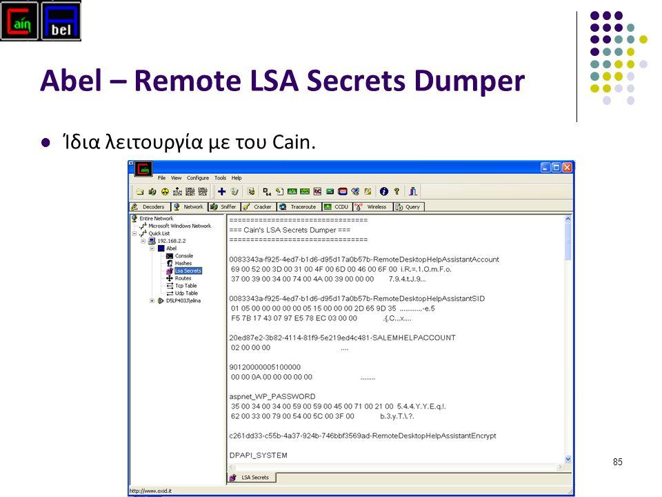 Abel – Remote LSA Secrets Dumper Ίδια λειτουργία με του Cain. 85