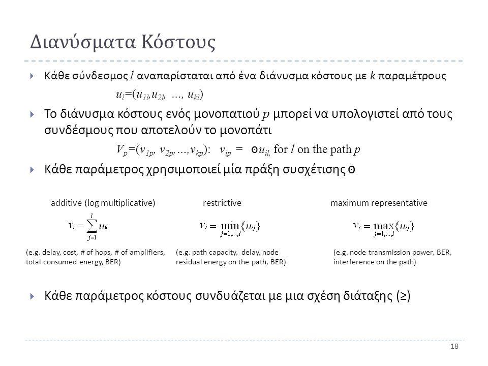 18 Διανύσματα Κόστους  Κάθε σύνδεσμος l αναπαρίσταται από ένα διάνυσμα κόστους με k παραμέτρους u l =(u 1l,u 2l, …, u kl )  Το διάνυσμα κόστους ενός μονοπατιού p μπορεί να υπολογιστεί από τους συνδέσμους που αποτελούν το μονοπάτι V p =(v 1p, v 2p,…,v kp ): v ip = סּ u il, for l on the path p  Κάθε παράμετρος χρησιμοποιεί μία πράξη συσχέτισης סּ  Κάθε παράμετρος κόστους συνδυάζεται με μια σχέση διάταξης (≥) additive (log multiplicative) restrictive maximum representative (e.g.