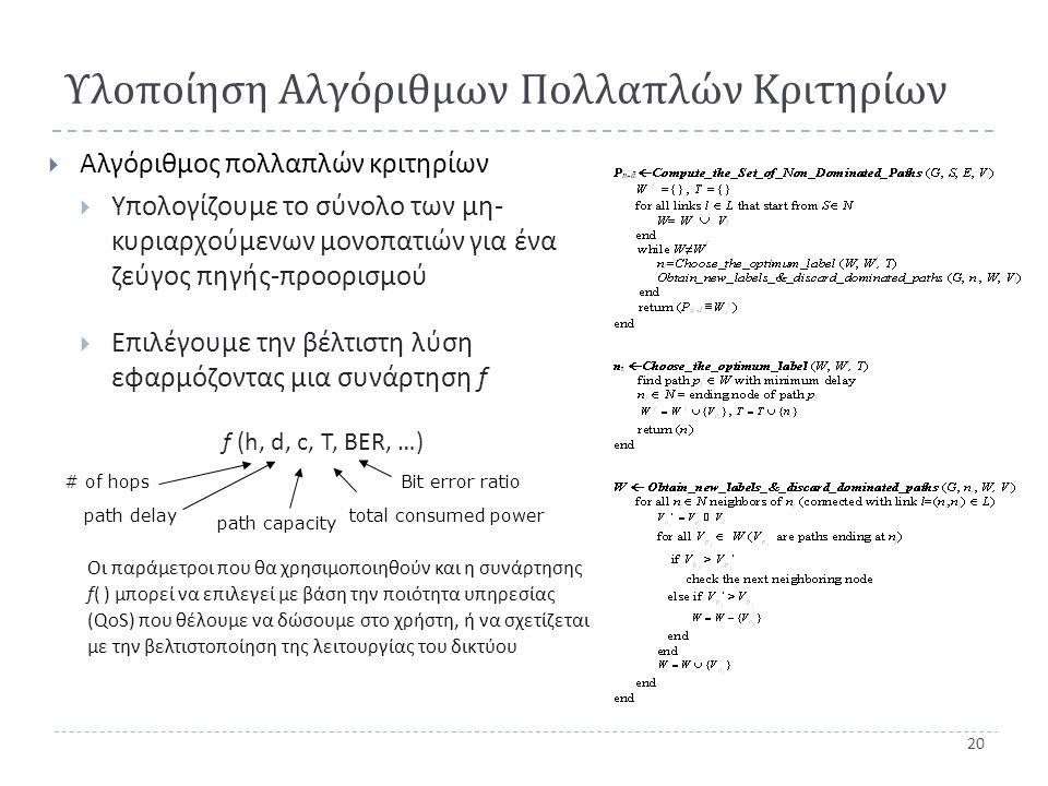 20 Υλοποίηση Αλγόριθμων Πολλαπλών Κριτηρίων  Αλγόριθμος πολλαπλών κριτηρίων  Υπολογίζουμε το σύνολο των μη - κυριαρχούμενων μονοπατιών για ένα ζεύγος πηγής - προορισμού  Επιλέγουμε την βέλτιστη λύση εφαρμόζοντας μια συνάρτηση f f (h, d, c, T, BER, …) # of hops path delay path capacity total consumed power Bit error ratio Οι παράμετροι που θα χρησιμοποιηθούν και η συνάρτησης f( ) μπορεί να επιλεγεί με βάση την ποιότητα υπηρεσίας (QoS) που θέλουμε να δώσουμε στο χρήστη, ή να σχετίζεται με την βελτιστοποίηση της λειτουργίας του δικτύου