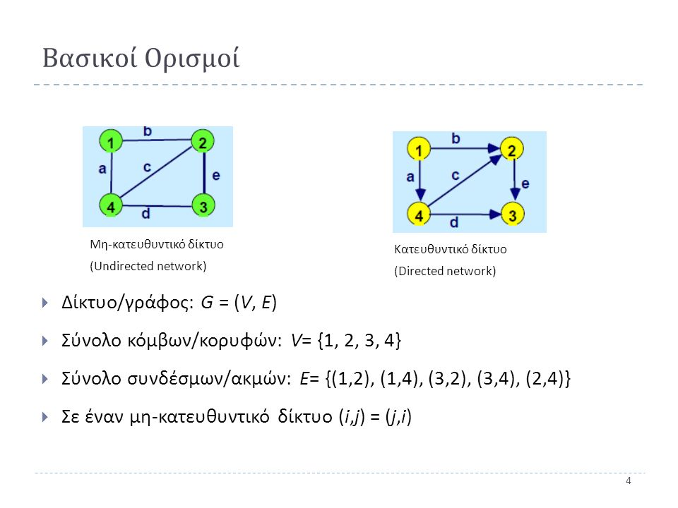 4 Βασικοί Ορισμοί  Δίκτυο / γράφος : G = ( V, E )  Σύνολο κόμβων / κορυφών : V = {1, 2, 3, 4}  Σύνολο συνδέσμων / ακμών : Ε = {(1,2), (1, 4 ), (3,2), (3,4), (2,4)}  Σε έναν μη - κατευθυντικό δίκτυο (i,j) = (j,i) Κατευθυντικό δίκτυο (Directed network) Μη-κατευθυντικό δίκτυο (Undirected network)