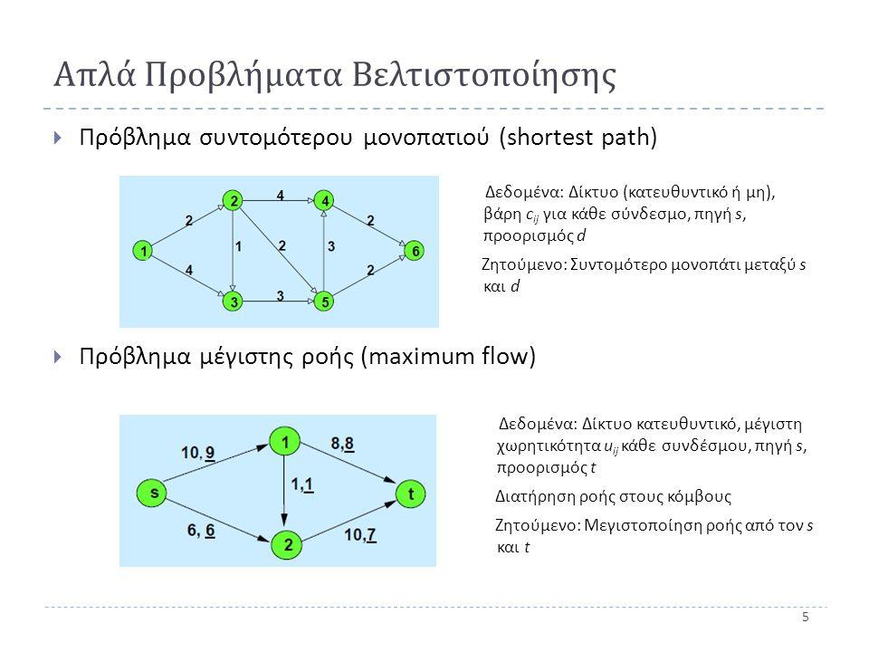 5 Απλά Προβλήματα Βελτιστοποίησης  Πρόβλημα συντομότερου μονοπατιού ( shortest path)  Πρόβλημα μέγιστης ροής (maximum flow) Δεδομένα: Δίκτυο (κατευθυντικό ή μη), βάρη c ij για κάθε σύνδεσμο, πηγή s, προορισμός d Ζητούμενο: Συντομότερο μονοπάτι μεταξύ s και d Δεδομένα: Δίκτυο κατευθυντικό, μέγιστη χωρητικότητα u ij κάθε συνδέσμου, πηγή s, προορισμός t Διατήρηση ροής στους κόμβους Ζητούμενο: Μεγιστοποίηση ροής από τον s και t