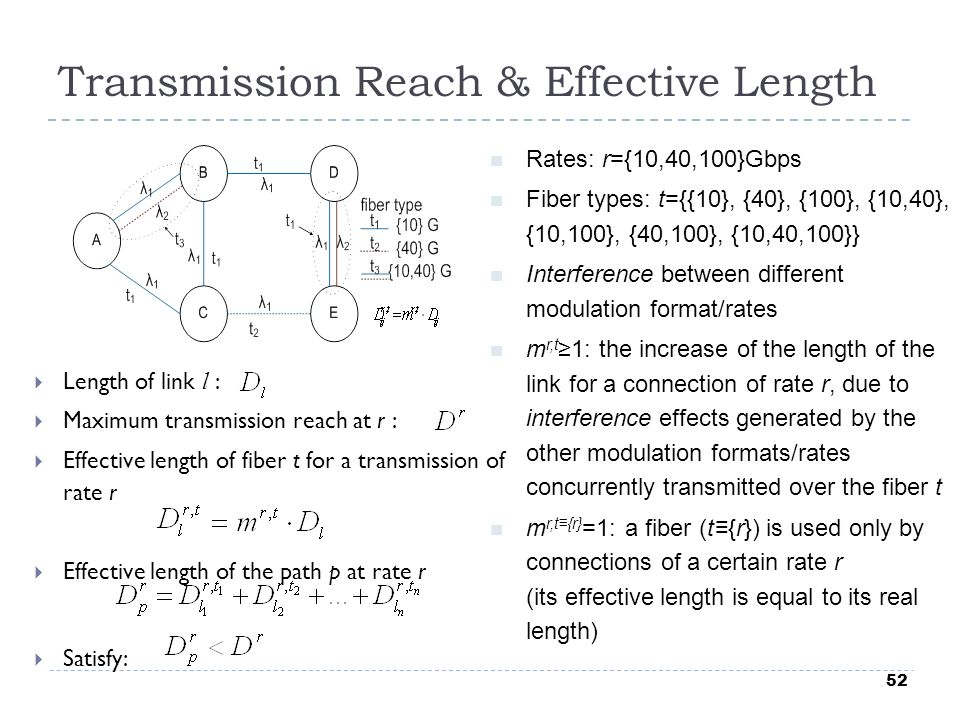 52 Transmission Reach & Effective Length  Length of link l :  Maximum transmission reach at r :  Effective length of fiber t for a transmission of rate r  Effective length of the path p at rate r  Satisfy: Rates: r={10,40,100}Gbps Fiber types: t={{10}, {40}, {100}, {10,40}, {10,100}, {40,100}, {10,40,100}} Interference between different modulation format/rates m r,t ≥1: the increase of the length of the link for a connection of rate r, due to interference effects generated by the other modulation formats/rates concurrently transmitted over the fiber t m r,t≡{r} =1: a fiber (t≡{r}) is used only by connections of a certain rate r (its effective length is equal to its real length)