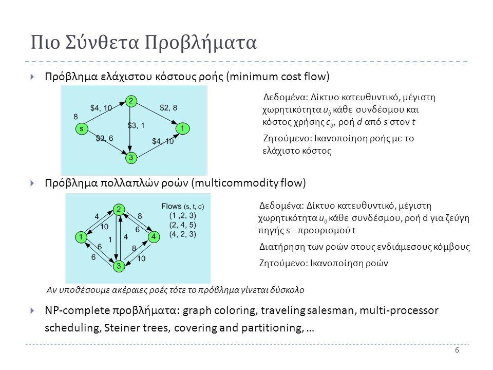 6 Πιο Σύνθετα Προβλήματα  Πρόβλημα ελάχιστου κόστους ροής (minimum cost flow)  Πρόβλημα πολλαπλών ροών (multicommodity flow) Αν υποθέσουμε ακέραιες ροές τότε το πρόβλημα γίνεται δύσκολο  NP-complete προβλήματα : graph coloring, traveling salesman, multi-processor scheduling, Steiner trees, covering and partitioning, … Δεδομένα: Δίκτυο κατευθυντικό, μέγιστη χωρητικότητα u ij κάθε συνδέσμου και κόστος χρήσης c ij, ροή d από s στον t Ζητούμενο: Ικανοποίηση ροής με το ελάχιστο κόστος Δεδομένα: Δίκτυο κατευθυντικό, μέγιστη χωρητικότητα u ij κάθε συνδέσμου, ροή d για ζεύγη πηγής s - προορισμού t Διατήρηση των ροών στους ενδιάμεσους κόμβους Ζητούμενο: Ικανοποίηση ροών