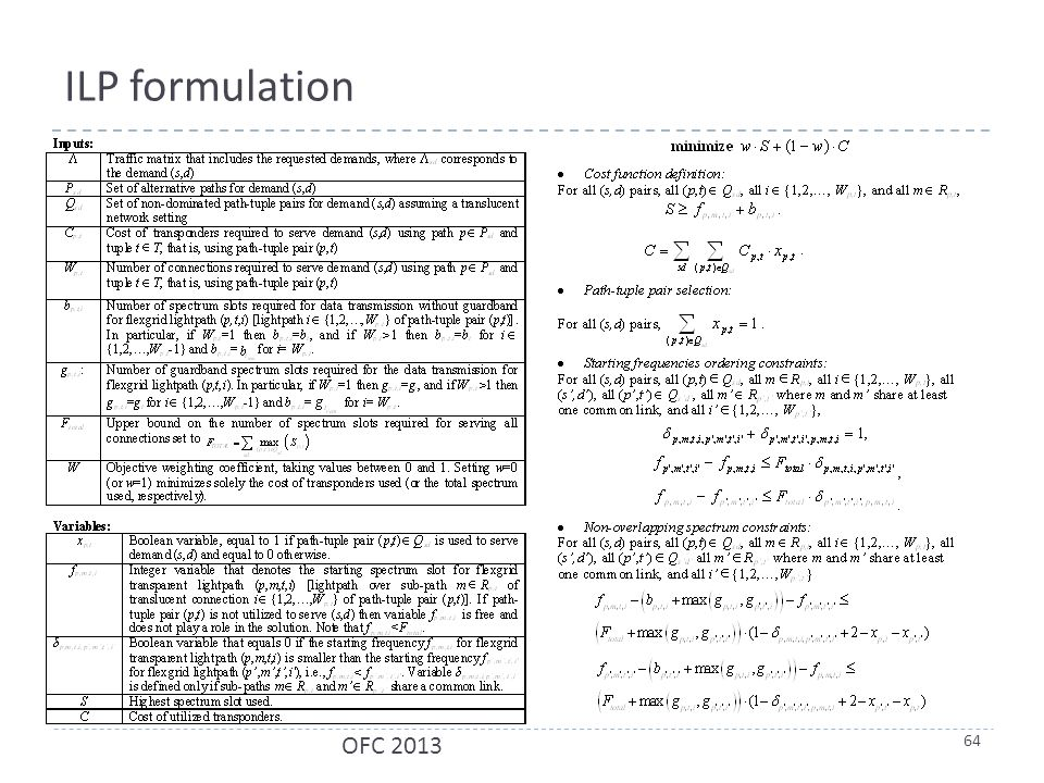 ILP formulation 64 OFC 2013