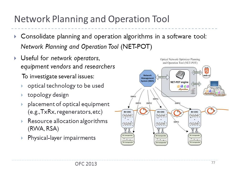 Network Planning and Operation Tool  Consolidate planning and operation algorithms in a software tool: Network Planning and Operation Tool (NET-POT) 77 OFC 2013  Useful for network operators, equipment vendors and researchers To investigate several issues:  optical technology to be used  topology design  placement of optical equipment (e.g., TxRx, regenerators, etc)  Resource allocation algorithms (RWA, RSA)  Physical-layer impairments