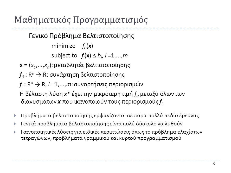 10 Γραμμικός προγραμματισμός ( LP) Γραμμικό Πρόβλημα Βελτιστοποίησης minimize c T.