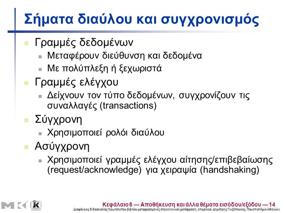 Διαφάνειες διδασκαλίας πρωτότυπου βιβλίου μεταφρασμένες στα ελληνικά (μετάφραση, επιμέλεια: Δημήτρης Γκιζόπουλος, Πανεπιστήμιο Αθηνών) Σήματα διαύλου και συγχρονισμός Γραμμές δεδομένων Μεταφέρουν διεύθυνση και δεδομένα Με πολύπλεξη ή ξεχωριστά Γραμμές ελέγχου Δείχνουν τον τύπο δεδομένων, συγχρονίζουν τις συναλλαγές (transactions) Σύγχρονη Χρησιμοποιεί ρολόι διαύλου Ασύγχρονη Χρησιμοποιεί γραμμές ελέγχου αίτησης/επιβεβαίωσης (request/acknowledge) για χειραψία (handshaking) Κεφάλαιο 6 — Αποθήκευση και άλλα θέματα εισόδου/εξόδου — 14