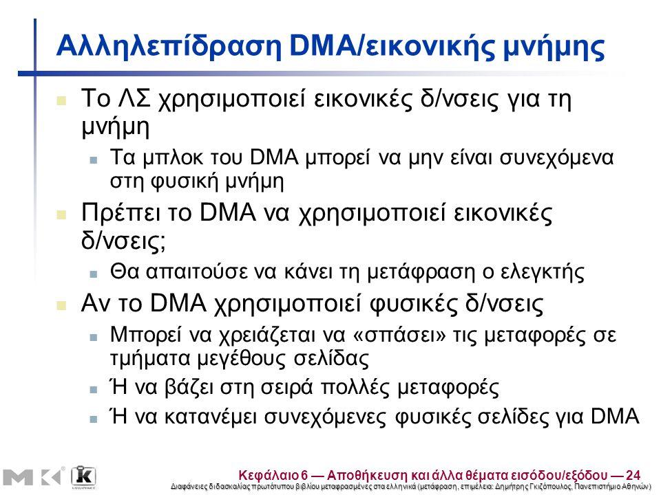 Διαφάνειες διδασκαλίας πρωτότυπου βιβλίου μεταφρασμένες στα ελληνικά (μετάφραση, επιμέλεια: Δημήτρης Γκιζόπουλος, Πανεπιστήμιο Αθηνών) Αλληλεπίδραση DMA/εικονικής μνήμης Το ΛΣ χρησιμοποιεί εικονικές δ/νσεις για τη μνήμη Τα μπλοκ του DMA μπορεί να μην είναι συνεχόμενα στη φυσική μνήμη Πρέπει το DMA να χρησιμοποιεί εικονικές δ/νσεις; Θα απαιτούσε να κάνει τη μετάφραση ο ελεγκτής Αν το DMA χρησιμοποιεί φυσικές δ/νσεις Μπορεί να χρειάζεται να «σπάσει» τις μεταφορές σε τμήματα μεγέθους σελίδας Ή να βάζει στη σειρά πολλές μεταφορές Ή να κατανέμει συνεχόμενες φυσικές σελίδες για DMA Κεφάλαιο 6 — Αποθήκευση και άλλα θέματα εισόδου/εξόδου — 24