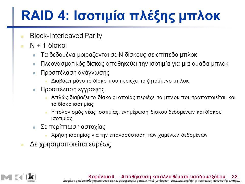 Διαφάνειες διδασκαλίας πρωτότυπου βιβλίου μεταφρασμένες στα ελληνικά (μετάφραση, επιμέλεια: Δημήτρης Γκιζόπουλος, Πανεπιστήμιο Αθηνών) RAID 4: Ισοτιμία πλέξης μπλοκ Block-Interleaved Parity N + 1 δίσκοι Τα δεδομένα μοιράζονται σε N δίσκους σε επίπεδο μπλοκ Πλεονασματικός δίσκος αποθηκεύει την ισοτιμία για μια ομάδα μπλοκ Προσπέλαση ανάγνωσης Διαβάζει μόνο το δίσκο που περιέχει το ζητούμενο μπλοκ Προσπέλαση εγγραφής Απλώς διαβάζει το δίσκο οι οποίος περιέχει το μπλοκ που τροποποιείται, και το δίσκο ισοτιμίας Υπολογισμός νέας ισοτιμίας, ενημέρωση δίσκου δεδομένων και δίσκου ισοτιμίας Σε περίπτωση αστοχίας Χρήση ισοτιμίας για την επανασύσταση των χαμένων δεδομένων Δε χρησιμοποιείται ευρέως Κεφάλαιο 6 — Αποθήκευση και άλλα θέματα εισόδου/εξόδου — 32