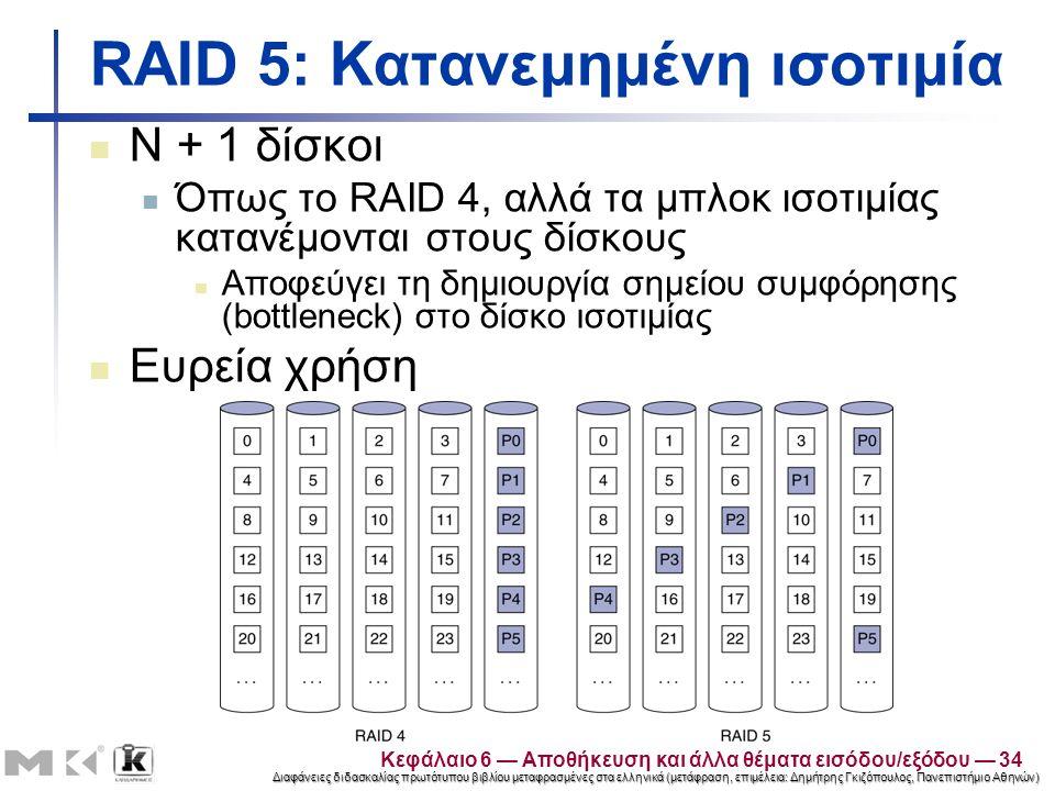Διαφάνειες διδασκαλίας πρωτότυπου βιβλίου μεταφρασμένες στα ελληνικά (μετάφραση, επιμέλεια: Δημήτρης Γκιζόπουλος, Πανεπιστήμιο Αθηνών) RAID 5: Κατανεμημένη ισοτιμία N + 1 δίσκοι Όπως το RAID 4, αλλά τα μπλοκ ισοτιμίας κατανέμονται στους δίσκους Αποφεύγει τη δημιουργία σημείου συμφόρησης (bottleneck) στο δίσκο ισοτιμίας Ευρεία χρήση Κεφάλαιο 6 — Αποθήκευση και άλλα θέματα εισόδου/εξόδου — 34