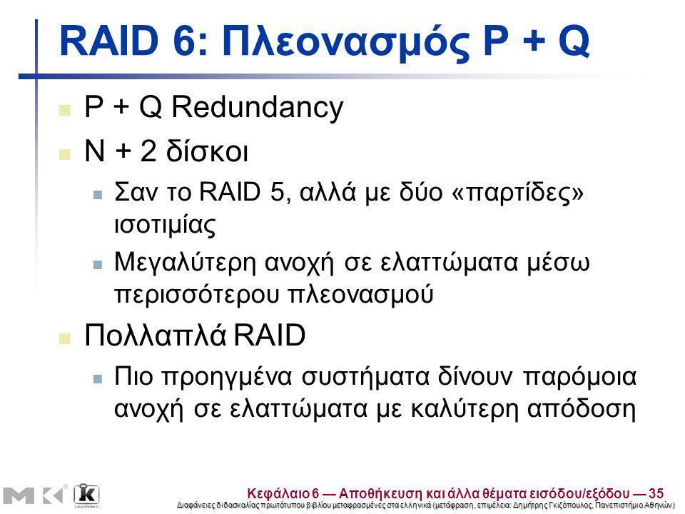 Διαφάνειες διδασκαλίας πρωτότυπου βιβλίου μεταφρασμένες στα ελληνικά (μετάφραση, επιμέλεια: Δημήτρης Γκιζόπουλος, Πανεπιστήμιο Αθηνών) RAID 6: Πλεονασμός P + Q P + Q Redundancy N + 2 δίσκοι Σαν το RAID 5, αλλά με δύο «παρτίδες» ισοτιμίας Μεγαλύτερη ανοχή σε ελαττώματα μέσω περισσότερου πλεονασμού Πολλαπλά RAID Πιο προηγμένα συστήματα δίνουν παρόμοια ανοχή σε ελαττώματα με καλύτερη απόδοση Κεφάλαιο 6 — Αποθήκευση και άλλα θέματα εισόδου/εξόδου — 35