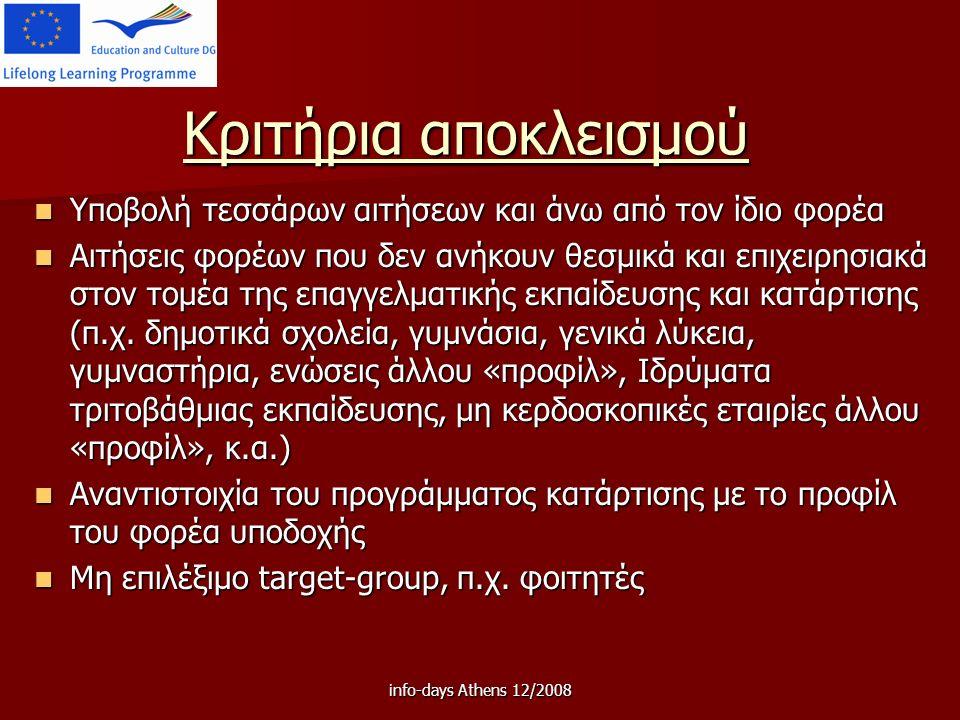 info-days Athens 12/2008 Κριτήρια αποκλεισμού Υποβολή τεσσάρων αιτήσεων και άνω από τον ίδιο φορέα Υποβολή τεσσάρων αιτήσεων και άνω από τον ίδιο φορέα Αιτήσεις φορέων που δεν ανήκουν θεσμικά και επιχειρησιακά στον τομέα της επαγγελματικής εκπαίδευσης και κατάρτισης (π.χ.