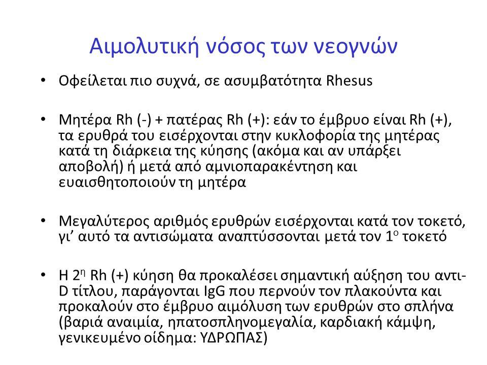 Αιμολυτική νόσος των νεογνών Οφείλεται πιο συχνά, σε ασυμβατότητα Rhesus Mητέρα Rh (-) + πατέρας Rh (+): εάν το έμβρυο είναι Rh (+), τα ερυθρά του εισ