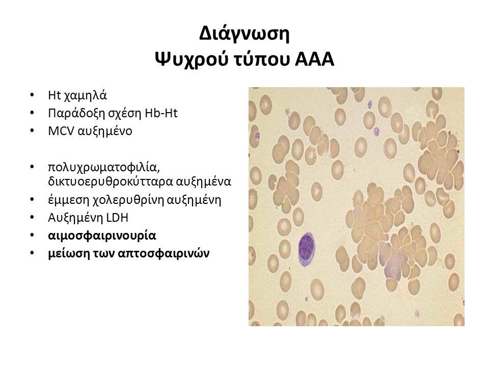 Διάγνωση Ψυχρού τύπου ΑΑΑ Ht χαμηλά Παράδοξη σχέση Hb-Ht MCV αυξημένο πολυχρωματοφιλία, δικτυοερυθροκύτταρα αυξημένα έμμεση χολερυθρίνη αυξημένη Αυξημ